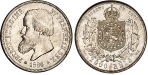 As últimas moedas brasileiras que tinham caras e coroas foram emitidas nos fins do Império, como esta de 2000 réis de 1886; de um lado, está a cara de Dom Pedro II, do outro o brasão e a coroa imperial. (Foto: en.numista.com)