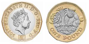 Atualmente, o Reino Unido é um dos poucos países de destaque na economia mundial que ainda usam moedas assim; a foto abaixo mostra a moeda de uma libra, que tem de uma lado a cara da rainha Elizabeth II, do outro a coroa real. Note que nestas moedas não há lugar para o número; o valor está escrito por extenso abaixo da coroa (one pound).